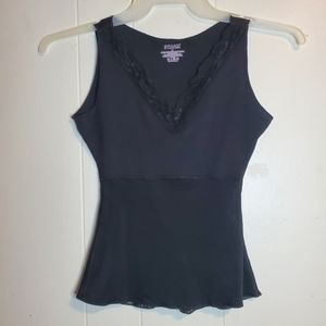 Spanx black lace trim vneck shapewear tank top S